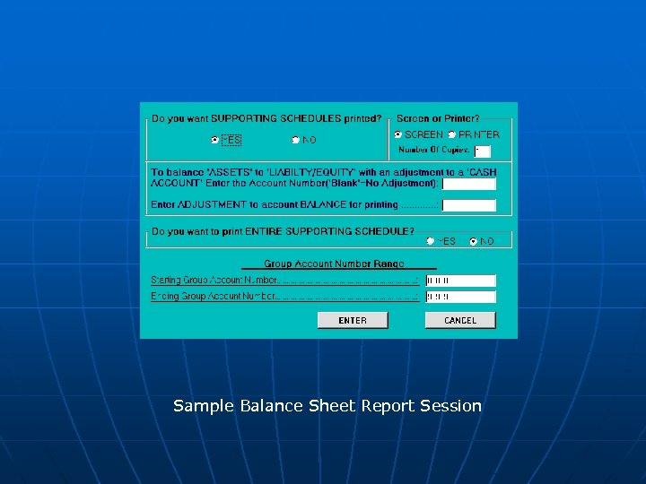 Sample Balance Sheet Report Session