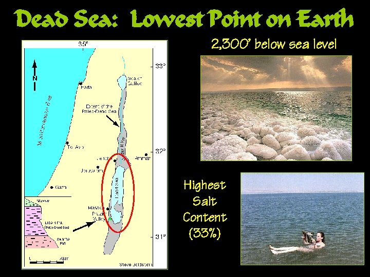 Dead Sea: Lowest Point on Earth 2, 300' below sea level Highest Salt Content