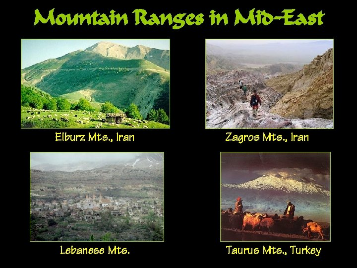 Mountain Ranges in Mid-East Elburz Mts. , Iran Lebanese Mts. Zagros Mts. , Iran