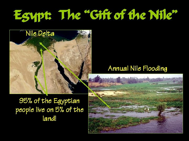 "Egypt: The ""Gift of the Nile"" Nile Delta Annual Nile Flooding 95% of the"