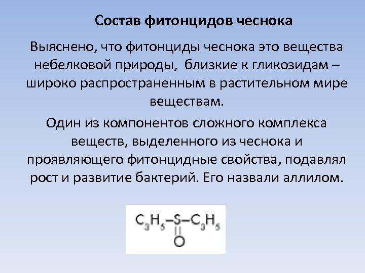 Состав фитонцидов чеснока Выяснено, что фитонциды чеснока это вещества небелковой природы, близкие к гликозидам