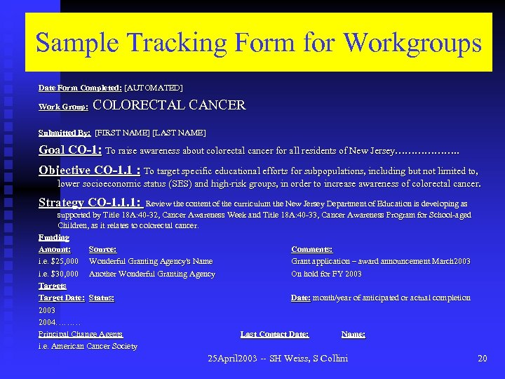 Sample Tracking Form for Workgroups Date Form Completed: [AUTOMATED] Work Group: COLORECTAL CANCER Submitted