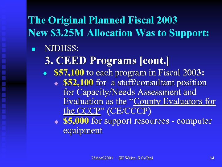 The Original Planned Fiscal 2003 New $3. 25 M Allocation Was to Support: n