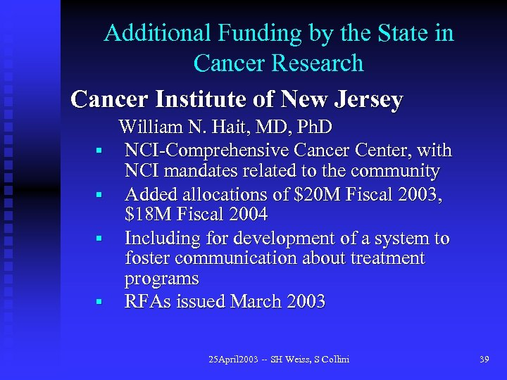 Additional Funding by the State in Cancer Research Cancer Institute of New Jersey William
