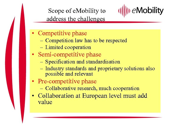Scope of e. Mobility to address the challenges • Competitive phase – Competition law