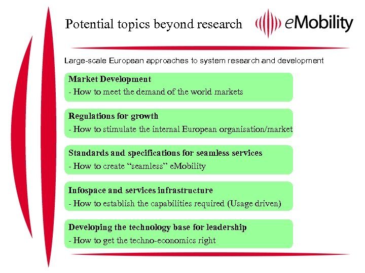 Potential topics beyond research Large-scale European approaches to system research and development Market Development