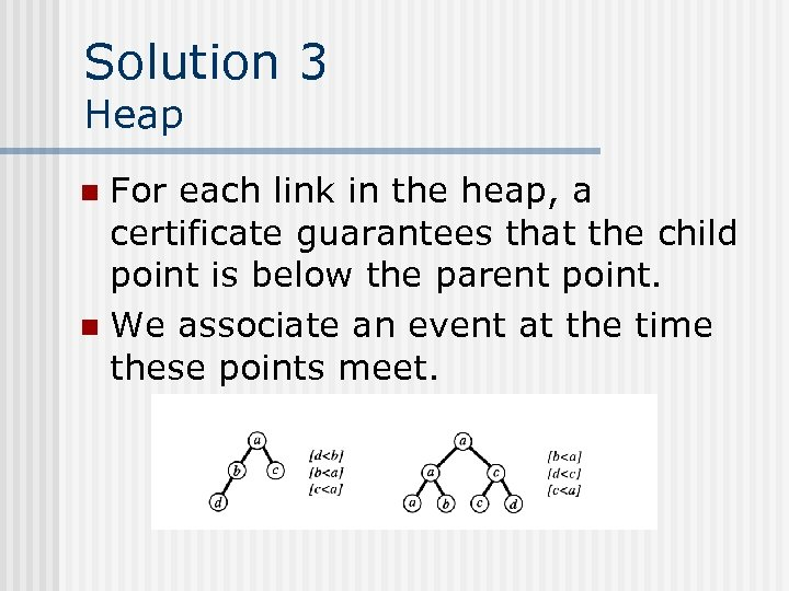 Solution 3 Heap For each link in the heap, a certificate guarantees that the