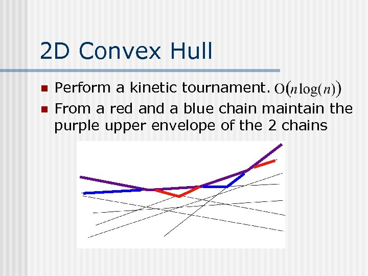 2 D Convex Hull n n Perform a kinetic tournament. From a red and