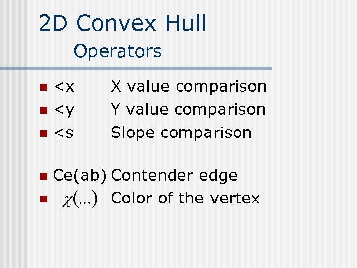 2 D Convex Hull Operators <x n <y n <s n X value comparison