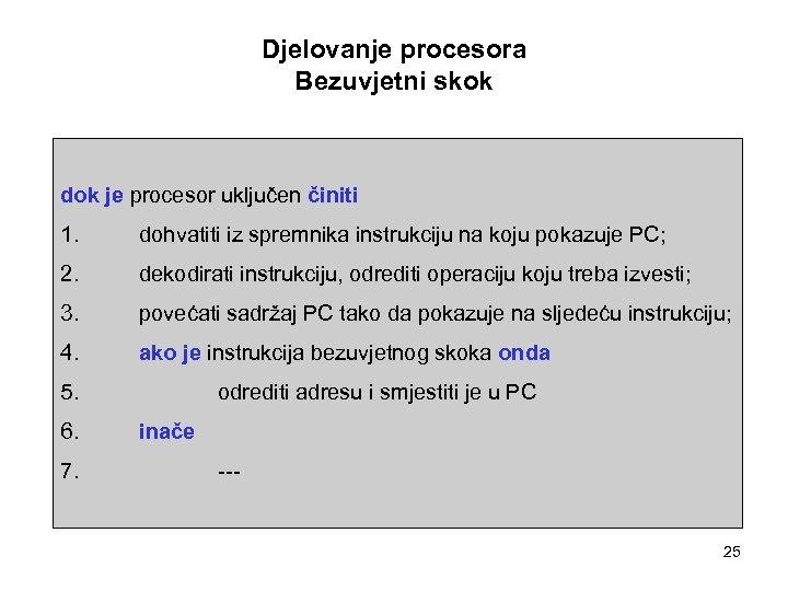 Djelovanje procesora Bezuvjetni skok dok je procesor uključen činiti 1. dohvatiti iz spremnika instrukciju