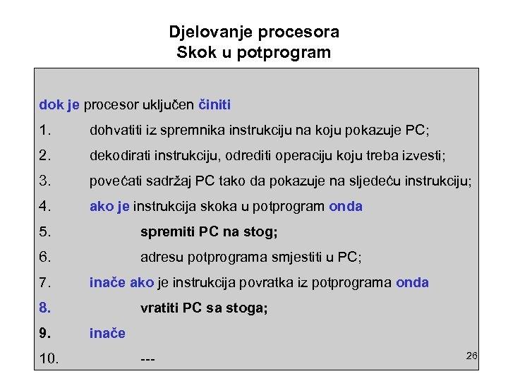 Djelovanje procesora Skok u potprogram dok je procesor uključen činiti 1. dohvatiti iz spremnika
