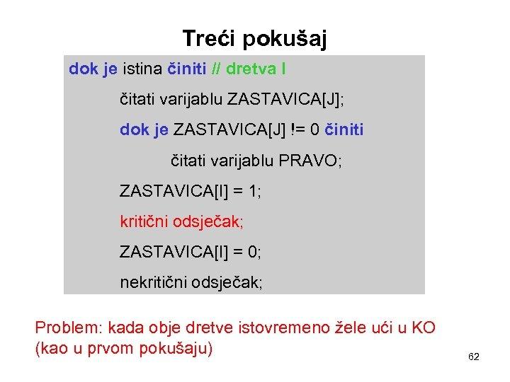 Treći pokušaj dok je istina činiti // dretva I čitati varijablu ZASTAVICA[J]; dok je