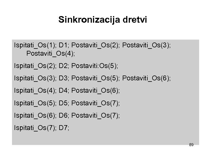Sinkronizacija dretvi Ispitati_Os(1); D 1; Postaviti_Os(2); Postaviti_Os(3); Postaviti_Os(4); Ispitati_Os(2); D 2; Postaviti: Os(5); Ispitati_Os(3);
