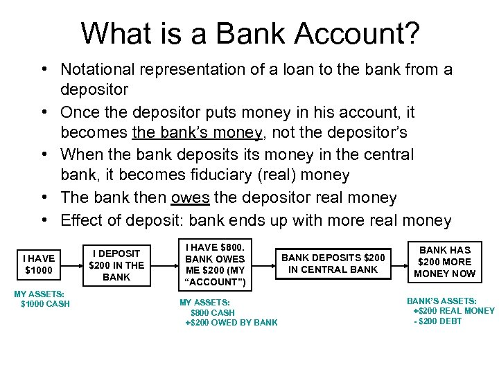 What is a Bank Account? • Notational representation of a loan to the bank
