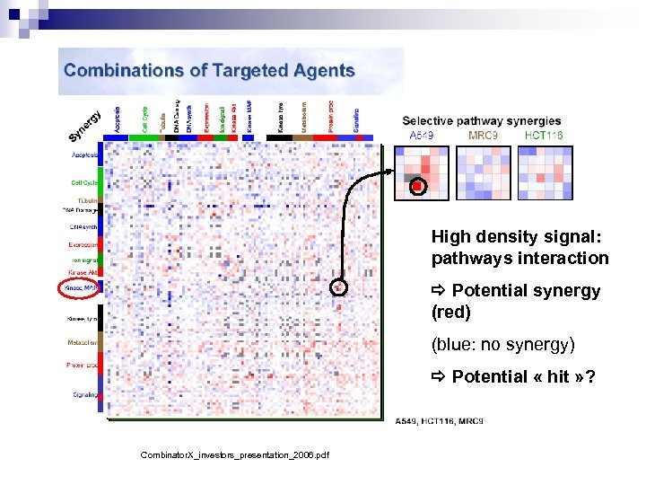 High density signal: pathways interaction Potential synergy (red) (blue: no synergy) Potential « hit