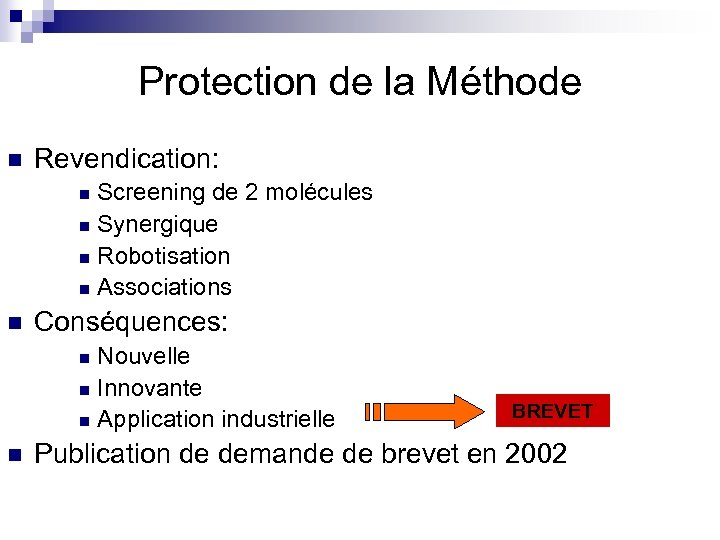 Protection de la Méthode n Revendication: Screening de 2 molécules n Synergique n Robotisation