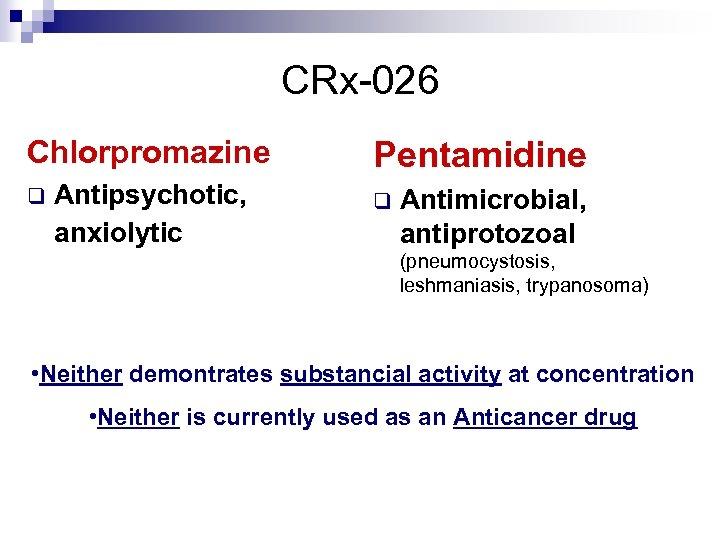 CRx-026 Chlorpromazine q Antipsychotic, anxiolytic Pentamidine q Antimicrobial, antiprotozoal (pneumocystosis, leshmaniasis, trypanosoma) • Neither