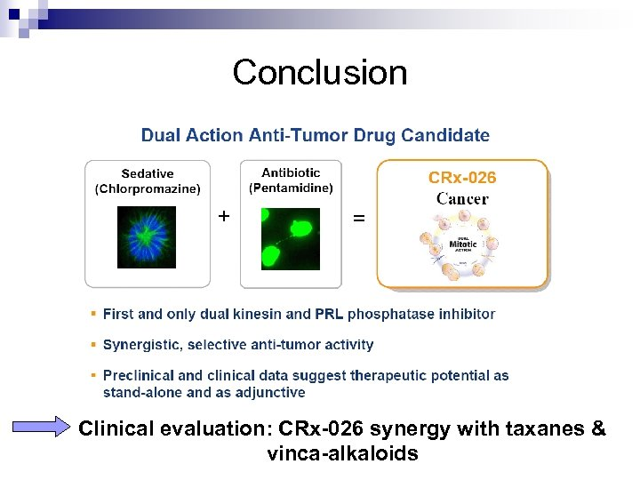 Conclusion Clinical evaluation: CRx-026 synergy with taxanes & vinca-alkaloids