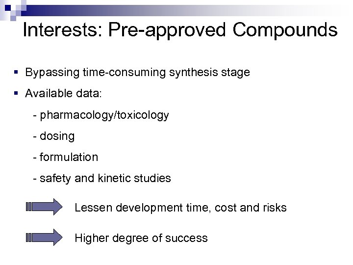 Interests: Pre-approved Compounds § Bypassing time-consuming synthesis stage § Available data: - pharmacology/toxicology
