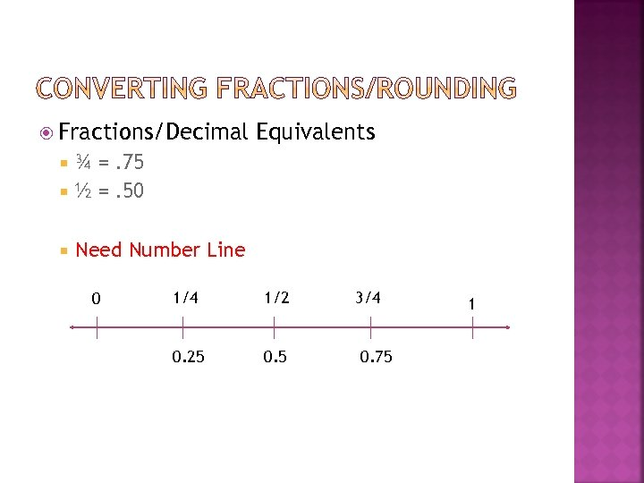 Fractions/Decimal Equivalents ¾ =. 75 ½ =. 50 Need Number Line 0 1/4