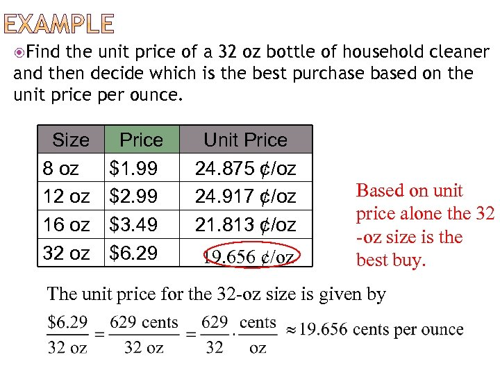 Find the unit price of a 32 oz bottle of household cleaner and