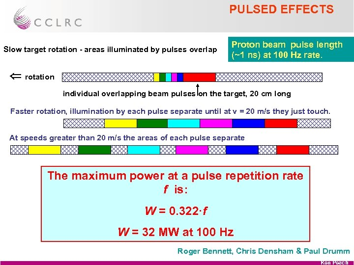 PULSED EFFECTS Slow target rotation - areas illuminated by pulses overlap Proton beam pulse
