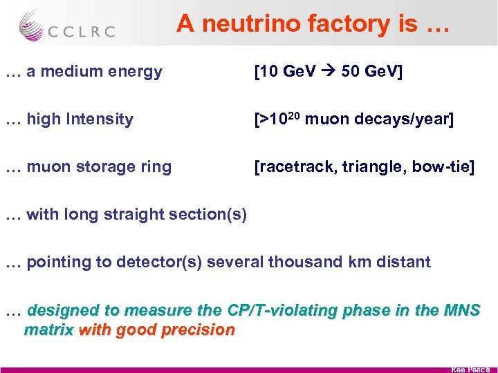 A neutrino factory is … … a medium energy [10 Ge. V 50 Ge.