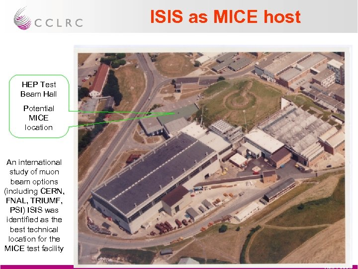 ISIS as MICE host HEP Test Beam Hall Potential MICE location An international study