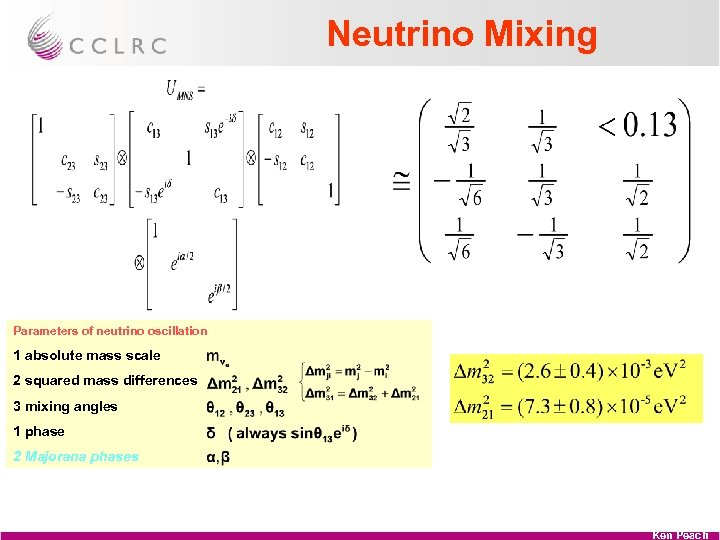 Neutrino Mixing Parameters of neutrino oscillation 1 absolute mass scale 2 squared mass differences