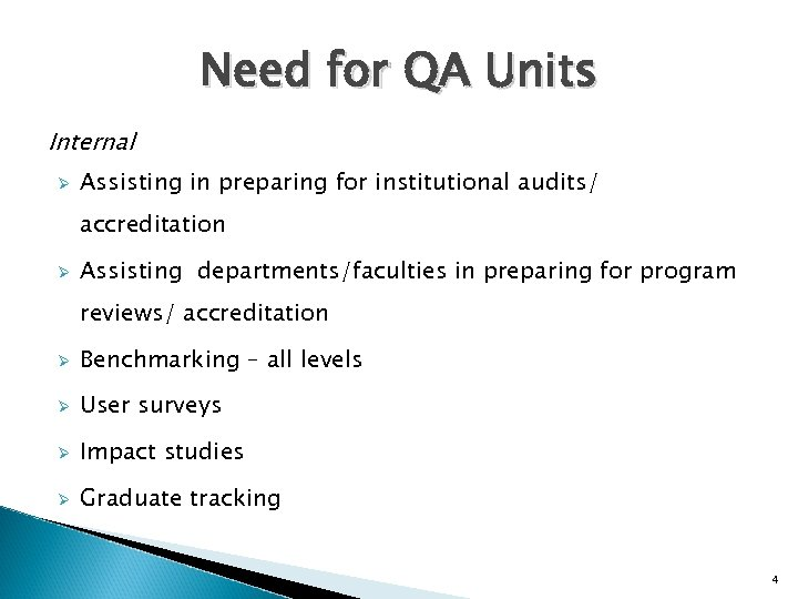 Need for QA Units Internal Ø Assisting in preparing for institutional audits/ accreditation Ø