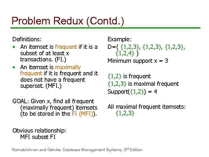 Problem Redux (Contd. ) Definitions: • An itemset is frequent if it is a