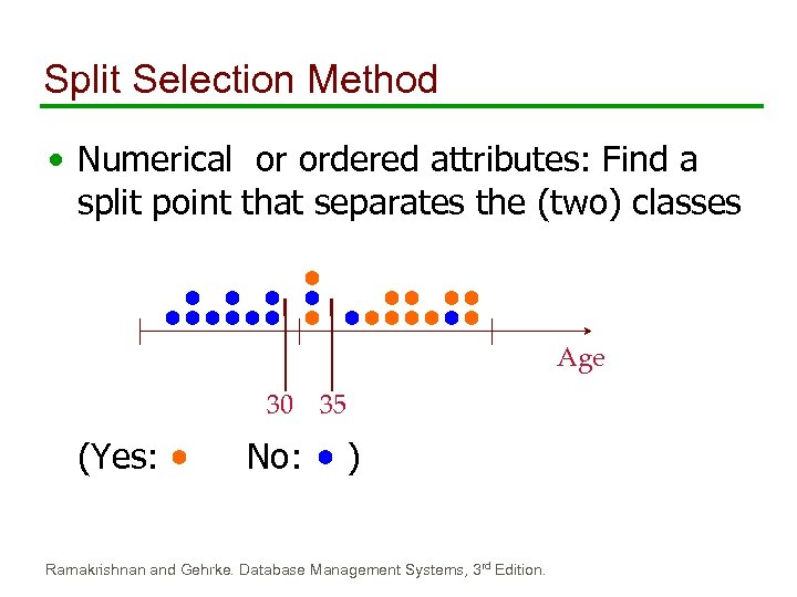 Split Selection Method • Numerical or ordered attributes: Find a split point that separates