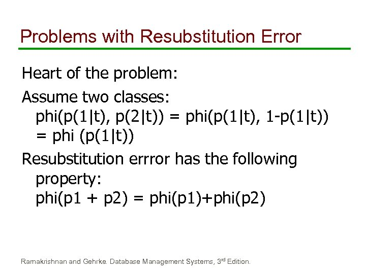 Problems with Resubstitution Error Heart of the problem: Assume two classes: phi(p(1|t), p(2|t)) =