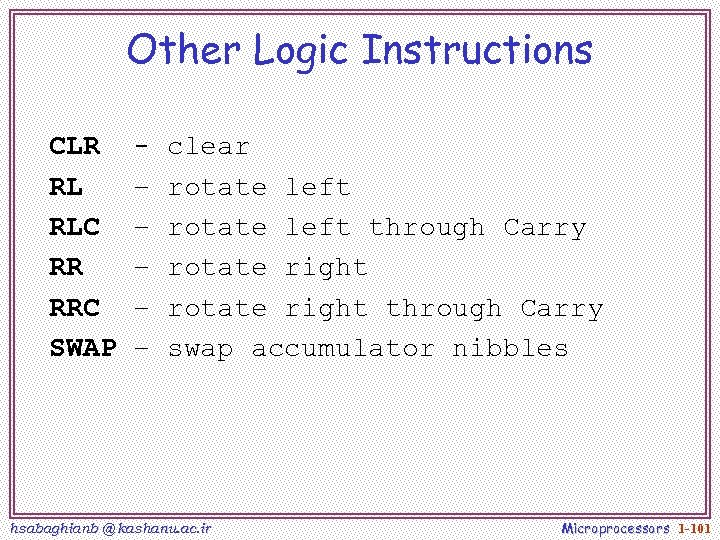 Other Logic Instructions CLR RL RLC RR RRC SWAP – – – clear rotate
