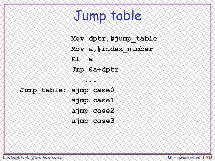 Jump table Mov dptr, #jump_table Mov a, #index_number Rl a Jmp @a+dptr. . .