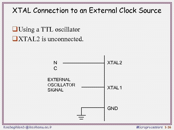 XTAL Connection to an External Clock Source q Using a TTL oscillator q XTAL