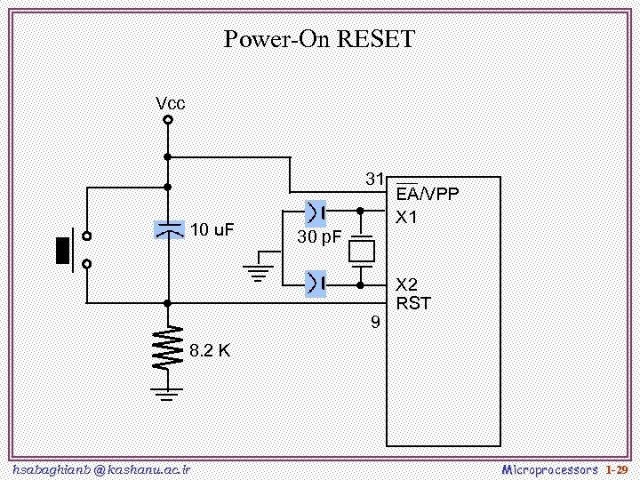 Power-On RESET Vcc 31 10 u. F 30 p. F 9 EA/VPP X 1