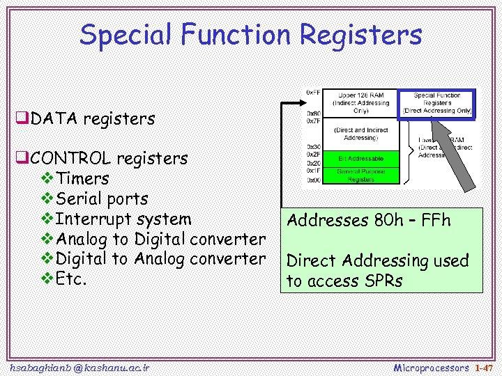 Special Function Registers q. DATA registers q. CONTROL registers v. Timers v. Serial ports
