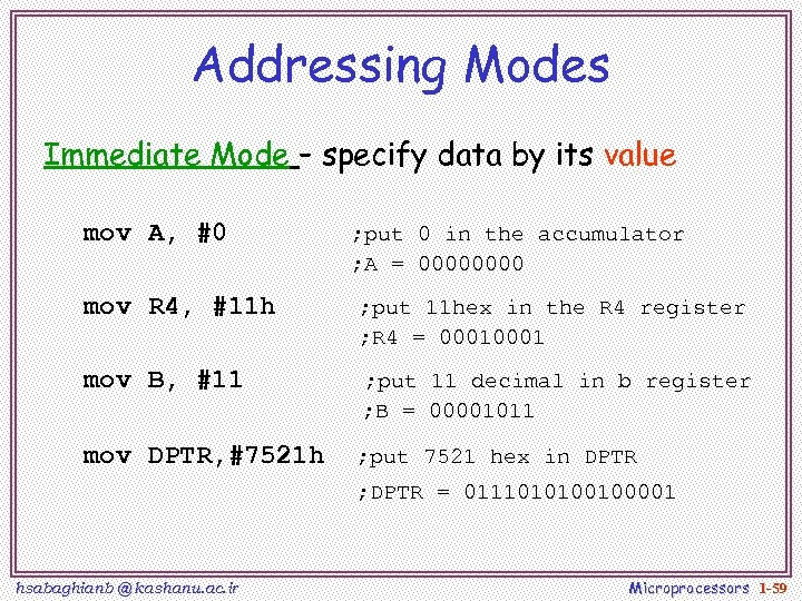 Addressing Modes Immediate Mode – specify data by its value mov A, #0 ;