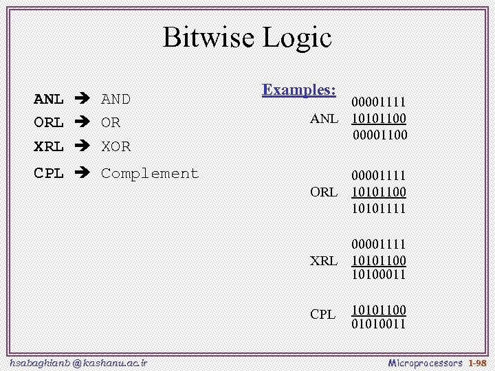 Bitwise Logic ANL AND ORL OR XRL XOR Examples: 00001111 ANL 10101100 00001100 CPL