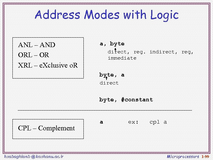Address Modes with Logic ANL – AND ORL – OR XRL – e. Xclusive