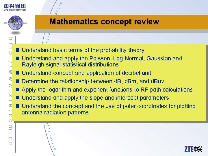 Mathematics concept review n Understand basic terms of the probability theory n Understand apply