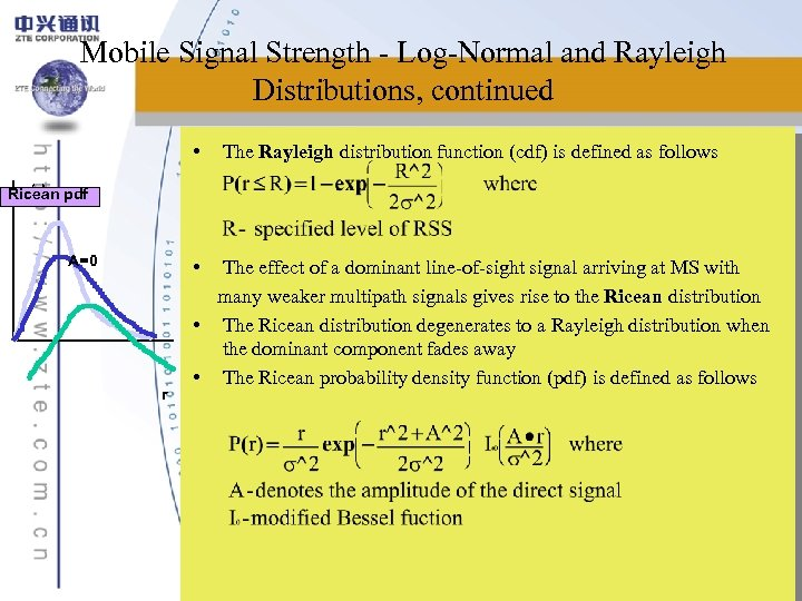 Mobile Signal Strength - Log-Normal and Rayleigh Distributions, continued • The Rayleigh distribution function