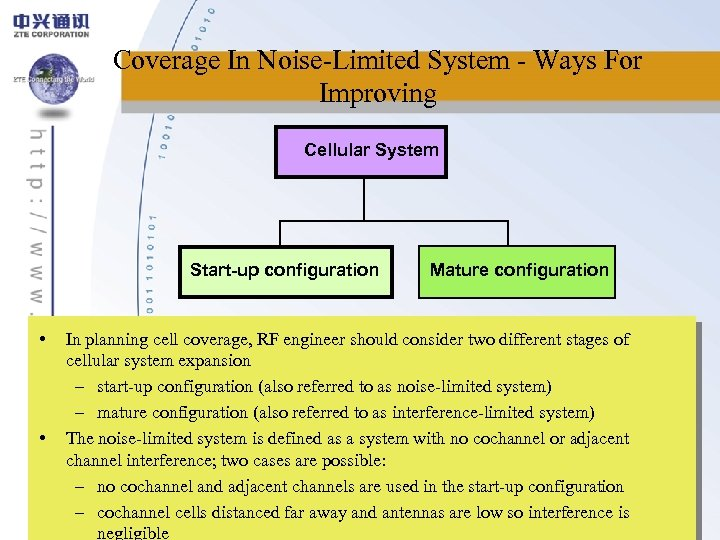 Coverage In Noise-Limited System - Ways For Improving Cellular System Start-up configuration • •