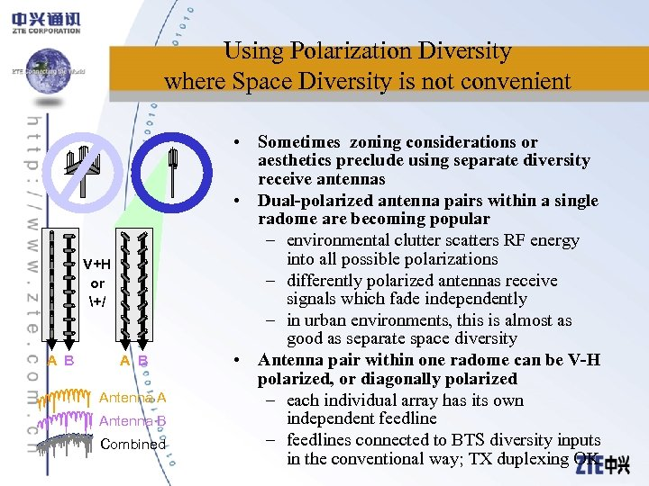 Using Polarization Diversity where Space Diversity is not convenient V+H or +/ A B