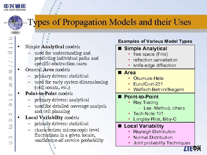 Types of Propagation Models and their Uses • • Examples of Various Model Types