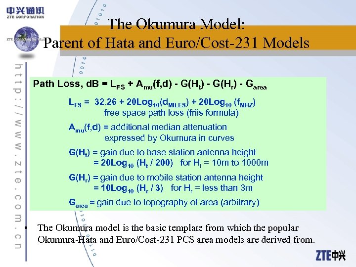 The Okumura Model: Parent of Hata and Euro/Cost-231 Models Path Loss, d. B =
