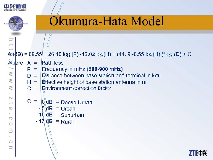Okumura-Hata Model A (d. B) = 69. 55 + 26. 16 log (F) -13.