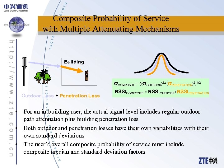 Composite Probability of Service with Multiple Attenuating Mechanisms Building COMPOSITE = (( OUTDOOR)2+( PENETRATION)2)1/2
