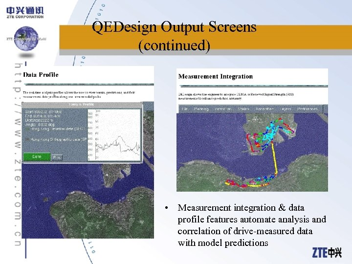 QEDesign Output Screens (continued) • Measurement integration & data profile features automate analysis and